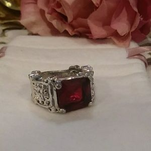 😇Ruby ✝ (Cross) Sterling Silver Ring🙏
